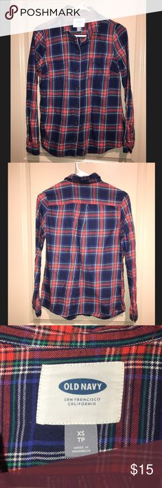 Old Navy Flannel Shirt Festive holiday colored flannel. Plaid design. Great condition. Old Navy Tops Button Down Shirts