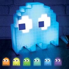 Pac Man Ghost Light Feeling the retro blues lately? The Pac man ghost light will brighten you up. It is USB powered and phases through 16 different color in standard mode in party mode it will flash and change color to the sound of music. Pac Man, Mood Light, Led Night Light, Light Led, Night Lights, Lamp Light, Bedroom Lamps, Bedroom Lighting, Video Game Bedroom