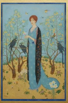 """Lady in the Garden by Edmund Dulac. Framed painting, gouache, gold and silver paint on paper laid on board. Signed and dated lower left, Edmund Dulac '17, (French, British, 1882-1953), 17""""h, 12.5""""w"""