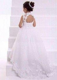 Luxe kanten witte bruidsmeisjes jurk bloemen meisje communie jurk. Luna