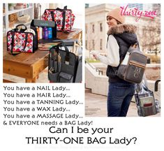 #31 Fall 2018 - Can I be your BAG LADY? You have a lady for your... Hair, Nails, Waxing, Tanning & Massage. You NEED A BAG LADY TOO! CAN I BE YOUR THIRTY-ONE BAG LADY? I LOVE the new Thirty-One Fall Prints... Black Beauty, Carmel Charm, Deep Merlot, Lovely Leopard, Midnight Navy, Ooh-La-La Olive Pebble, Deco Diamond, Dot Trip, Falling Feathers, Garden Party, Ikat Bazaar, Olive Twill Stripe, Stitched Medallion, Tapestry Floral & more.