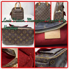 Authentic Louis Vuitton Monogram Excentri Cite Authentic Louis Vuitton Monogram Excentri Cite Preloved traditional Monogram LV Canvas w/Vachetta leather in great condition. Brass hardware front features two side pockets on side with flap closure to fit a cell phone. Is lined with red Alcatraz material and top double zipper closure. Serial No. VI0024 Louis Vuitton Bags Totes