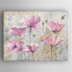lona pintura al óleo pintada a mano con la flor moderna estirada enmarcada – CLP $ 60.556