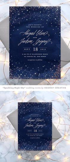 sparkling night sky starry wedding invitation design and Ideas 2019 - Make Wedding Invitations Invitation Baby Shower, Card Invitation, Floral Invitation, Party Invitations, Debut Invitation, Invites, Invitation Cards For Birthday, Invitation Ideas, Invitation Background