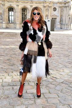 Anna Dello Russo attends the Christian Dior Fall 2015 show