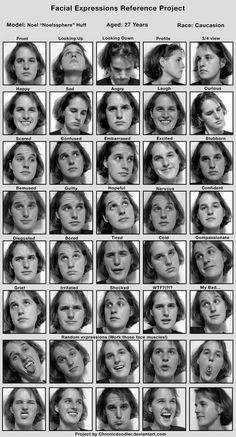 Draw Facial Expression Expressions Project Noel by chronicdoodler - Human Reference, Figure Reference, Animation Reference, Anatomy Reference, Reference Images, Photo Reference, Drawing Reference, Expression Sheet, Anatomy Poses