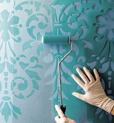 Try Damask stencils instead of pricey damask wallpaper! Our damask stencils are easy to use and very cost effective. Classic stencils, damask stencil patterns, wallpaper stencils for DIY decor. Do It Yourself Decoration, Diy And Crafts, Arts And Crafts, Paint Effects, Home Projects, Creations, Wall Decor, Diy Wall, Wall Art