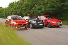 Klein sind sie, ja, aber nichts für Anfänger – schließlich leisten sie zwischen 207 und 231 PS. Der neue Mini John Cooper Works und der Opel Corsa OPC wollen dem Audi S1 zeigen wo's lang geht.