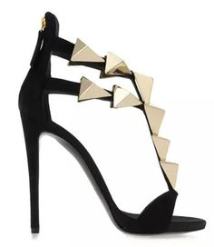 Golden Flame Metal Decorated Women Sandals