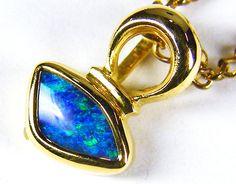BLUE EXPLOSION 18K GOLD OPAL DOUBLET PENDANT JO 1429