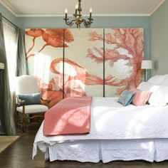 Love this three panel painting & the room colors!  Good idea if we buy an old house Sutherland paneling