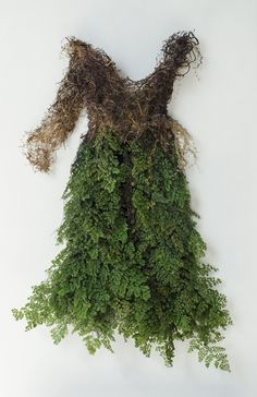 Dress made of Spanish moss, preserved Adianthum fern and bamboo by Catherine Latson.