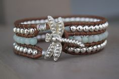 Amazonite Leather Cuff Bracelet, semi-precious stones - Pale Blue and Silver - distressed leather -  Boho Chic - READY TO SHIP. $45.00, via Etsy.
