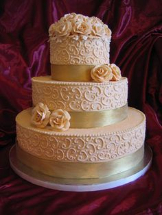 golden wedding cake ribbon 50th anniversary wedding cake all buttercream icing and 14765