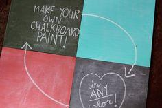 Versier je huis met krijtverf - 1 kopje acrylverf + 2 eetlepel tegelvoegsel
