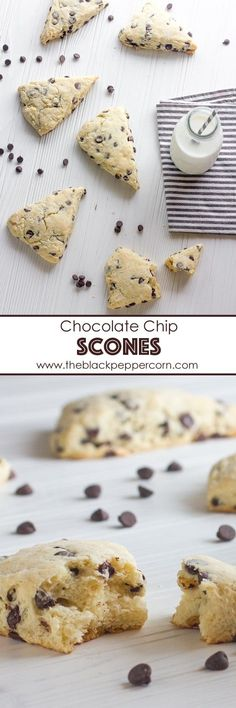 Chocolate Chip Scones Recipe - The Black Peppercorn - Buttery and flakey chocolate chip scones that melt in you mouth. Easy instructions for how to make the best scones and biscuits that perfect every time! Bake Sale Recipes, Baking Recipes, Snack Recipes, Snacks, Scone Recipes, Sweets Recipes, Scones Ingredients, How Sweet Eats, Sweet Bread