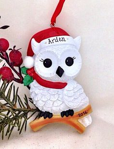 snowy christmas owl personalized christmas by adornamentsny christmas owls christmas stockings stocking stuffers