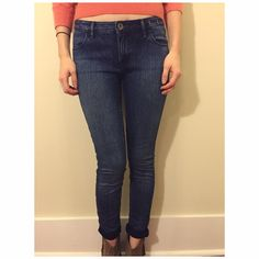 Madewell Skinny Jeans Dark wash skinny jeans from Madewell. Pictured cuffed, but that is my own styling, they are a full length pant, so they can be worn any way you prefer. Madewell Jeans Skinny