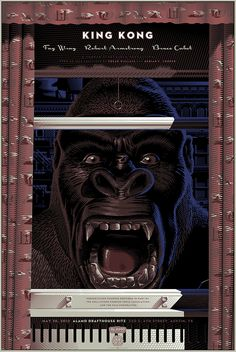 Mondo Posters / King Kong - Variant by Laurent Durieux - 2012 King Kong 1933, Skull Island, Laurent Durieux, The Iron Giant, Alamo Drafthouse, Merian, Alternative Movie Posters, Movie Poster Art, Illustrations