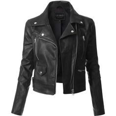 LE3NO Womens Faux Leather Zip Up Moto Biker Jacket with Pockets ($30) ❤ liked on Polyvore featuring outerwear, jackets, leather jacket, moto jackets, rider jacket, vegan leather biker jacket, zip up jackets and faux-leather jackets