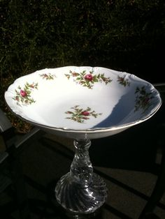 Recycled VINTAGE CHINA Pedestal Bowl Fresh by RomanticGlassworks, $32.00