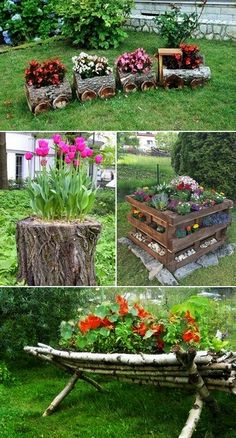 Gardens In Pots Landscaping _ Gardens In Pots Front Yard Garden Design, Garden Yard Ideas, Diy Garden Projects, Small Garden Design Ideas Low Maintenance, Small Backyard Landscaping, Landscaping Ideas, Container Gardening Vegetables, Fairy Garden Houses, Rustic Gardens