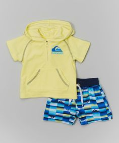Yellow Terry Cover-Up & Blue Swim Trunks - Infant & Toddler by Quiksilver #zulily #zulilyfinds