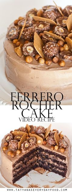 Do you enjoy the chocolate and hazelnut flavors of the popular Ferrero Rocher candy? You'll love those same flavors in this Ferrero Rocher cake made with hazelnuts, Frangelico, chocolate and Nutella! For this cake, I add pieces of waffle cookies for extra Just Desserts, Delicious Desserts, Dessert Recipes, Food Cakes, Cupcake Cakes, Sweets Cake, Muffin Cupcake, Torta Ferrero Rocher, Ferro Rocher Cake