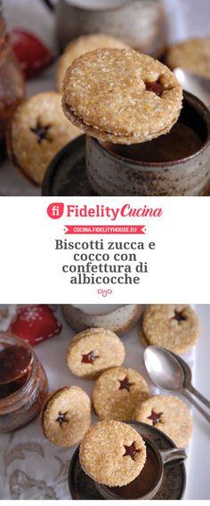 Biscotti zucca e cocco con confettura di albicocche New Recipes, Sweet Recipes, Christmas Desserts, Muffin, Food Porn, Food And Drink, Sweets, Snacks, Cookies