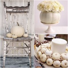Fall decor with neutral colors and natural materials: White pumpkins, candles, burlap, flowers, straw, nuts, acorns, pinecones, cornhusks, etc :)