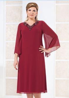 Koyu Kırmızı Şifon Elbise