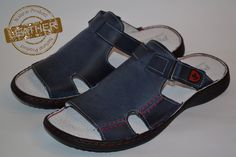 Polbut Men's Leather Handmade Blue Sandal Shoes