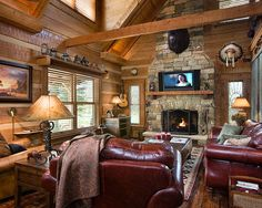 Traditional Living Room Log Cabin Decorating Design, Pictures, Remodel, Decor and Ideas - page 16