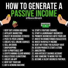 How to generate a passive income! 💵 How to generate a passive income! Financial Tips, Financial Literacy, Financial Peace, Earn Money From Home, How To Get Money, Money Today, Big Money, Life Quotes Love, Wisdom Quotes