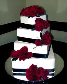 Elegant Modern Black Burgundy Red White Square Wedding Cakes Photos & Pictures - WeddingWire.com