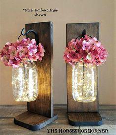 Lighted Mason Jar Sconces, Farmhouse Decor, Reclaimed Wood Sconces, Country Decor, SET OF 2 Freestan