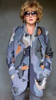 Crochet coat /cardigan freeform patchwork boho for women Crochet Coat, Crochet Jacket, Crochet Cardigan, Crochet Clothes, Freeform Crochet, Irish Lace, Cardigan Fashion, Hand Knitting, Boho