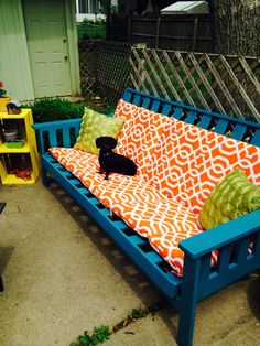 Old futon frame~ weatherproof spray paint and outdoor cushions= new patio furniture!