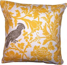 Throw Pillow Cover, 16x16 , Premier Print, Yellow and White, Bird Accent,  Home Decor Fabric, Removable Covers
