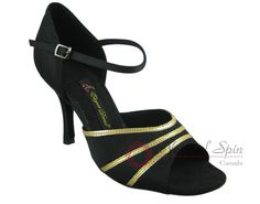 Natural Spin Signature Latin Shoes(Open Toe):  H1108-07_BlackES