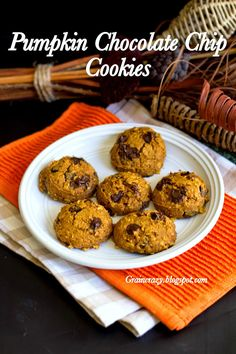 Grain Crazy: Pumpkin Chocolate Chip Cookies. Soft and delicious.