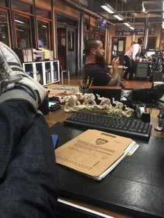 RobKyker: My feet on Becketts desk.