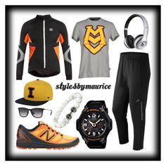"""""""Men's Athletic Apparel"""" by mauricee-brewer on Polyvore featuring Casio, X-Bionic, New Balance, Love Moschino, '47 Brand, Beats by Dr. Dre, Ray-Ban, men's fashion and menswear"""