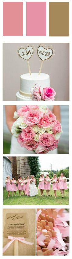 Pink And White Wedding - Rustic Wedding Chic Elegant Wedding, Rustic Wedding, Pink And White Weddings, Pink Wedding Theme, Pink Ties, Pink Bouquet, Country Weddings, Pink Accents, Wedding Bouquets