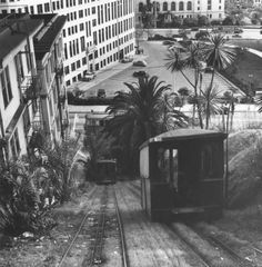 Court Flight Funicular in Los Angeles (photo by Ansel Adams, Click the photo and slide the Green Fade Bar to see where it was located. Los Angeles Area, Downtown Los Angeles, California History, Southern California, Hotel California, Vintage California, Old Photos, Vintage Photos, Vintage Pins