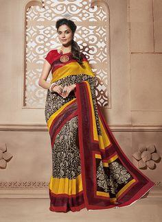 Shop for designer sarees and wedding designer sarees online at affordable price. Order this prepossessing multi colour casual saree.