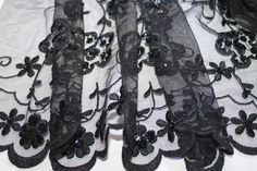 Black Netting Lace Fabric with Allover Satin by CreationsbyLSM, $15.00