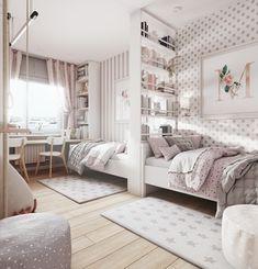 Teen Bedroom Designs, Room Design Bedroom, Room Ideas Bedroom, Home Room Design, Small Room Bedroom, Bedroom Decor, Twin Girl Bedrooms, Shared Bedrooms, Dream Rooms