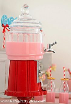 A Sweet Shoppe candy party with ric rac, paper & candy necklace bunting, bubble gum machine drink dispenser {took top off gumball machine & replaced it with a beverage dispenser} & more. Candy Themed Party, Candy Land Theme, Party Themes, Party Ideas, Sweet Like Candy, Sweet 16, Bubble Gum Machine, Paper Candy, Strawberry Milk