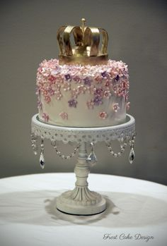 Crown cake with pink and purple flowers